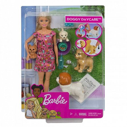 Papusa Barbie,Family,cu catelusi si acc,set