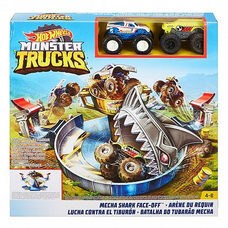 Set de joaca Hot Wheels,Monster Trucks,Mecha Shark face off,rechin