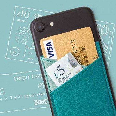 Portofel autoadeziv pentru telefon Bookaroo Phone Pocket - Turquoise