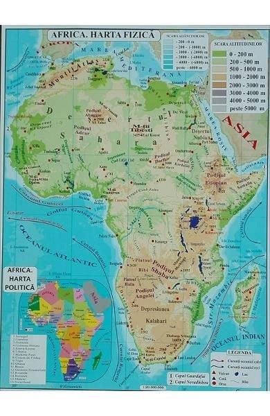 HARTA FIZICA AFRICA. HARTA FIZICA AUSTRALIA A3
