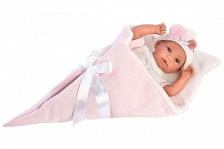 Papusa Llorens,36cm,bebe,cu paturica,roz