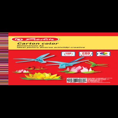 Carton colorat A4,200g,100coli,div.culori