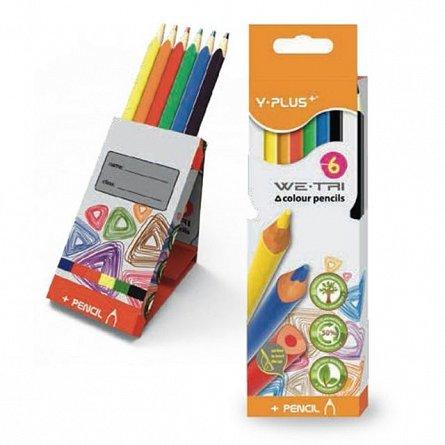 Creioane colorate,6b/set,Y-plus,Tri