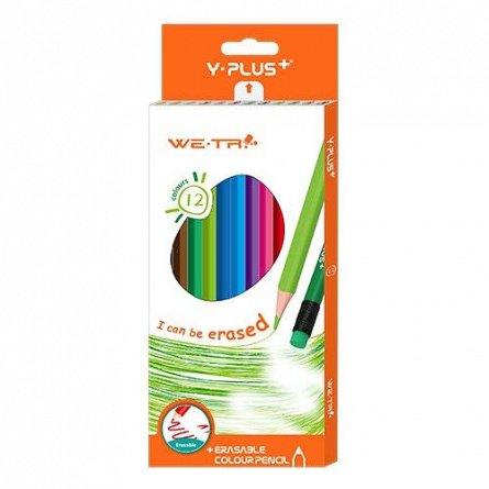 Creioane colorate,12b/set,cu radiera,Y-plus