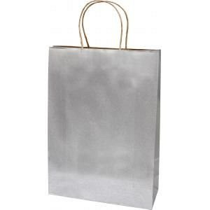 Punga cadou XL, argintiu, kraft
