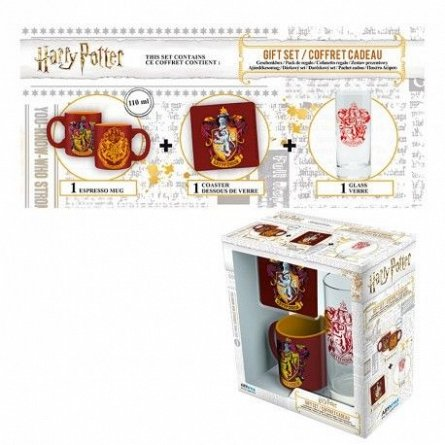 Set Pahar 29cl+Suport Pahar+Mini Cana Harry Potter, Gryffindor - AbyStyle