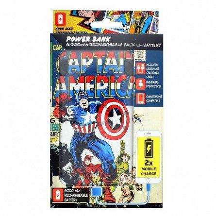 Baterie portabila 6000mAh Marvel Captain America - Lazerbuilt