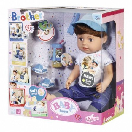 Baby Born-Fratior cu corp moale,interactiv,43cm