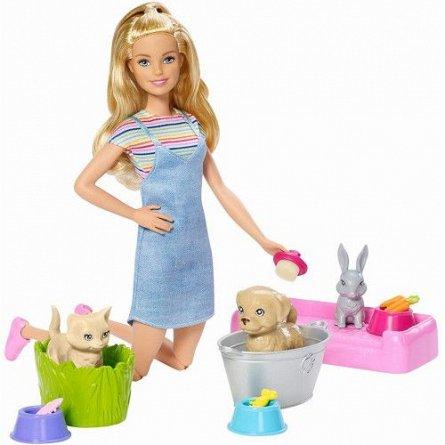 Papusa Barbie,Family,cu animale domestice,set joaca