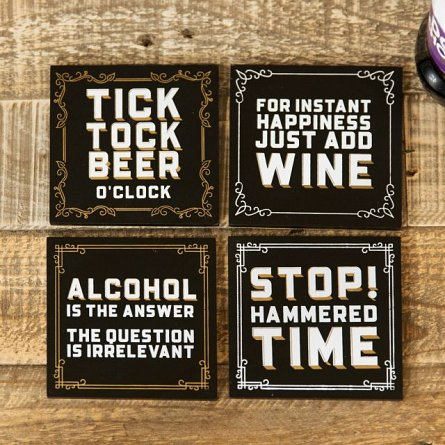 Set of 4 Brewmaster A Coasters in Wooden Display