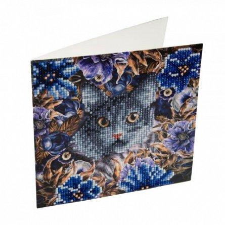 Set creativ cu cristale,Pisica si florile