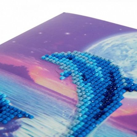 Set creativ cu cristale,Delfin