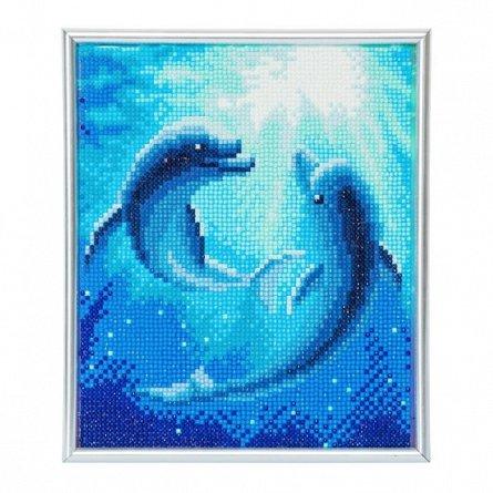 Set creativ cu cristale,in rama foto,Dansul delfinilor