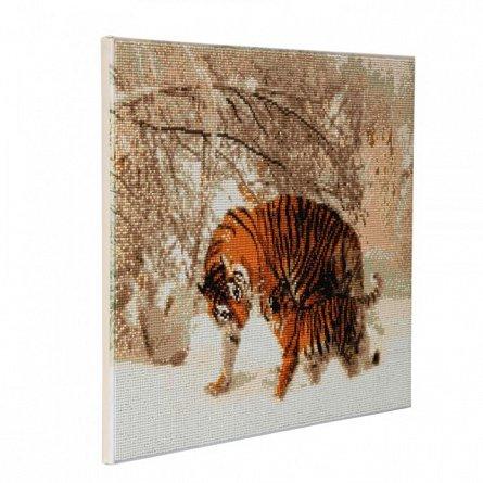 Tablou creativ cu cristale,Tigru iarna