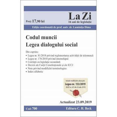 CODUL MUNCII. LEGEA DIALOGULUI SOCIAL (700)-23-SEP-2019