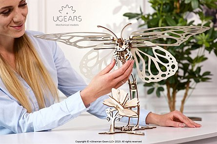 Puzzle mecanic,Fluture,lemn