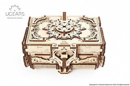 Puzzle mecanic,Cutie antica bijutetii,lemn