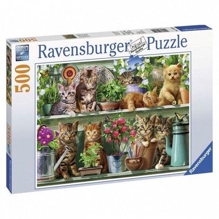 Puzzle Ravensburger - Pisici pe raft, 500 piese