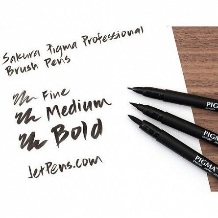 Marker varf pensula,Sakura Pigma,MB,black