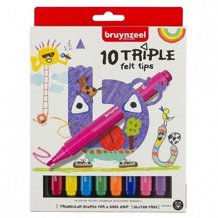 Marker pt copii,Bruynzeel,Triple,10buc/set