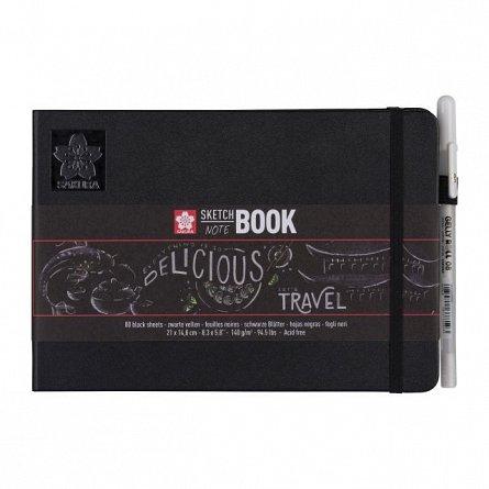 Caiet schite (SketchBook), 21x15cm, 80f, 140g, Sakura, hartie neagra