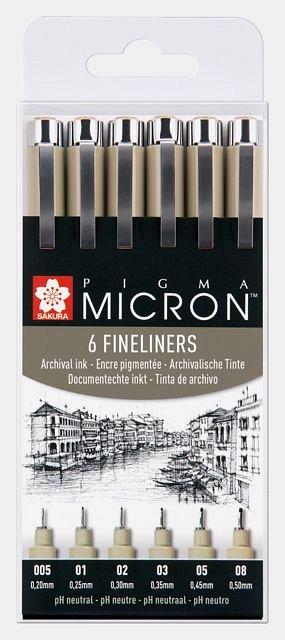 Liner Sakura Pigma Micron,6buc/set,black