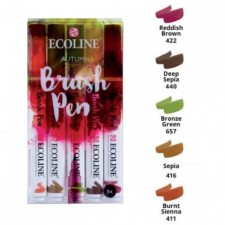 Marker varf pensula,Ecoline,5buc/set,autumn