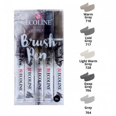 Marker varf pensula,Ecoline,5buc/set,grey