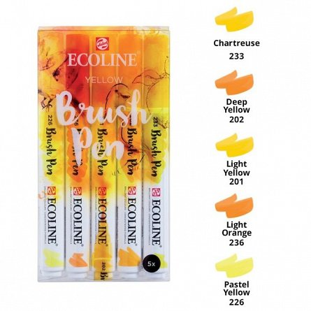 Marker varf pensula,Ecoline,5buc/set,yellow