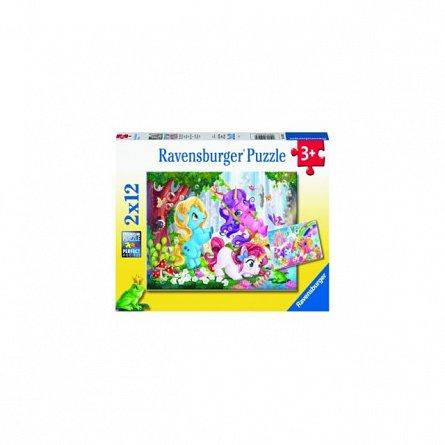 Puzzle Unicorni Magici, 2X12 Piese,Ravensburger
