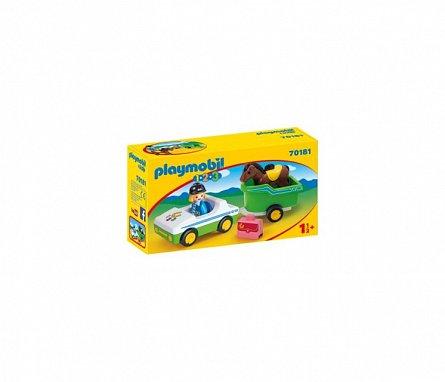 Playmobil-1.2.3 Masina cu remorca si calut