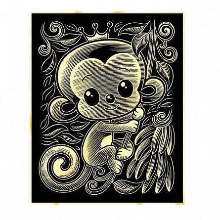 Set creativ Gold,Maimuta,25x20cm,Sequin Art,8ani+