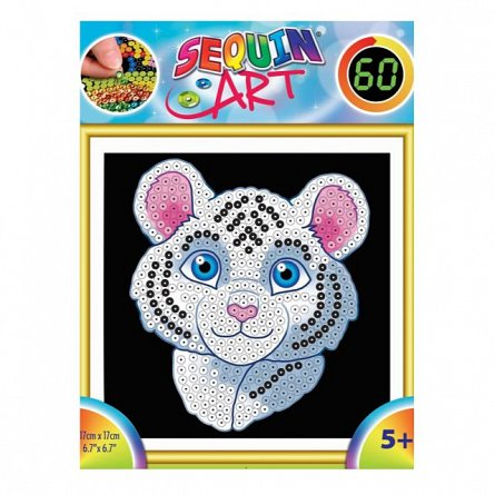 Set creativ Sequin 60,Tigrul Alb,17x17cm,Sequin Art,5ani+