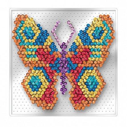 Set creativ Sequin Easy,Fluture,17x17cm,Sequin Art,4ani+