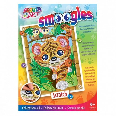 Set creativ Smoogles,Tigrul Scratch,34x25cm,Sequin Art,6ani+
