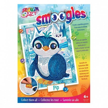 Set creativ Smoogles,Pinguinul Pip,34x25cm,Sequin Art,6ani+