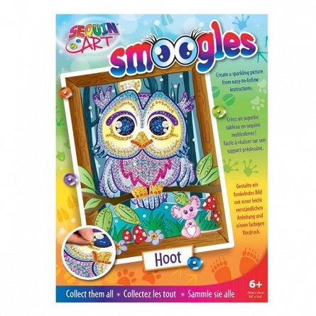 Set creativ Smoogles,Bufnita Hoot,34x25cm,Sequin Art,6ani+
