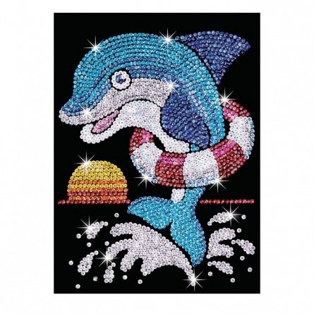 Set creativ Red,Delfinul Jack,34x25cm,Sequin Art,6ani+