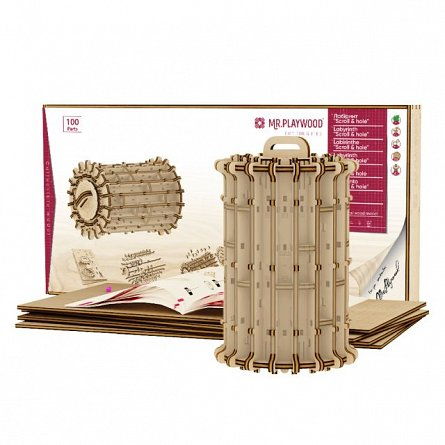 Puzzle mecanic,Labirint cilindric,lemn,8ani+