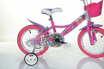 Bicicleta fete, 16inch, Fluturi MTB, roz, 6-8 ani, max 60kg, 1 viteza
