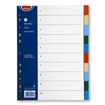 Separatoare din plastic,A4,Noki,index 10bucati,color