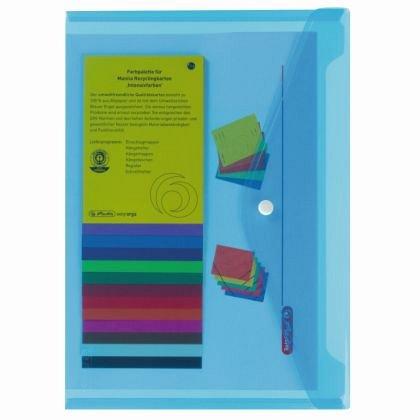 Mapa plastic, A4, capsa, Herlitz, albastru transparent