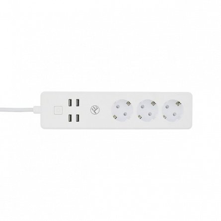 Prelungitor priza Tellur WiFi, 3 porturi, 4 x USB 4A, 2200W, max 10A, 1.8m