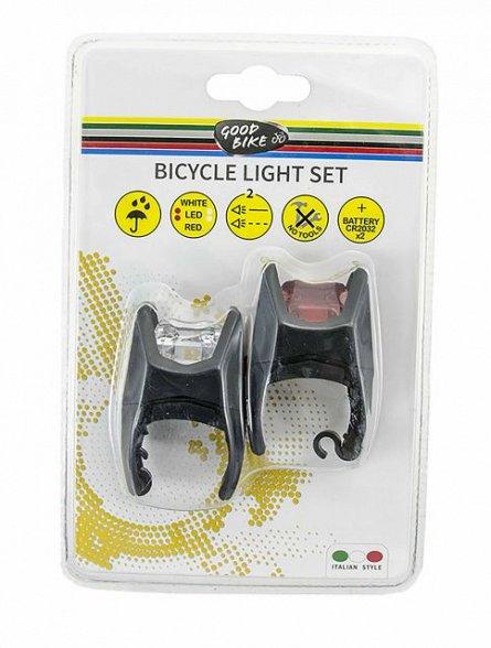 Set lumini bicicleta, alb/rosu, 2 Led eclipse