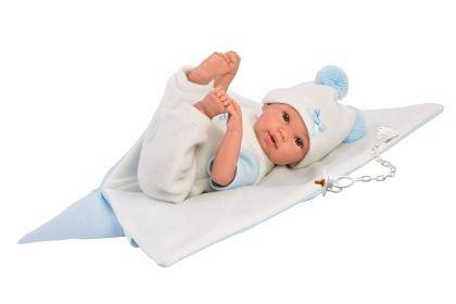 Papusa Llorens,36cm,bebe,cu paturica,albastra,3ani+