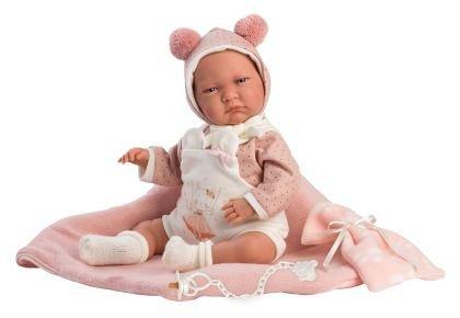Papusa Llorens, 42cm,bebe,Lala,cu paturica,roz,3ani+
