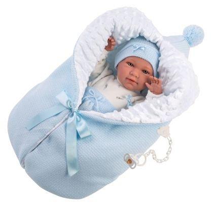 Papusa Llorens, 42cm,bebe,Mimo,cu saculet dormit,albastru,3ani+