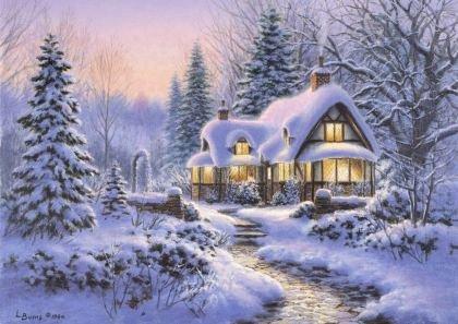 Puzzle Bluebird - Winter's Blanket Wouldbie Cottage, 500 piese (70066)