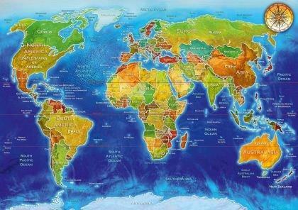 Puzzle Bluebird - Adrian Chesterman: World Geo-Political Map, 1.000 piese (70337-P)