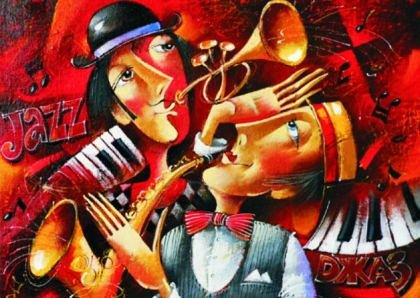 Puzzle Gold Puzzle - Jazz Duet, 1.000 piese